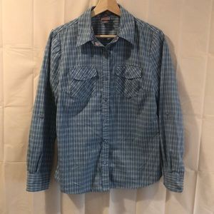 Laura Scott Checkered Button Up w/Roll Up Sleeves